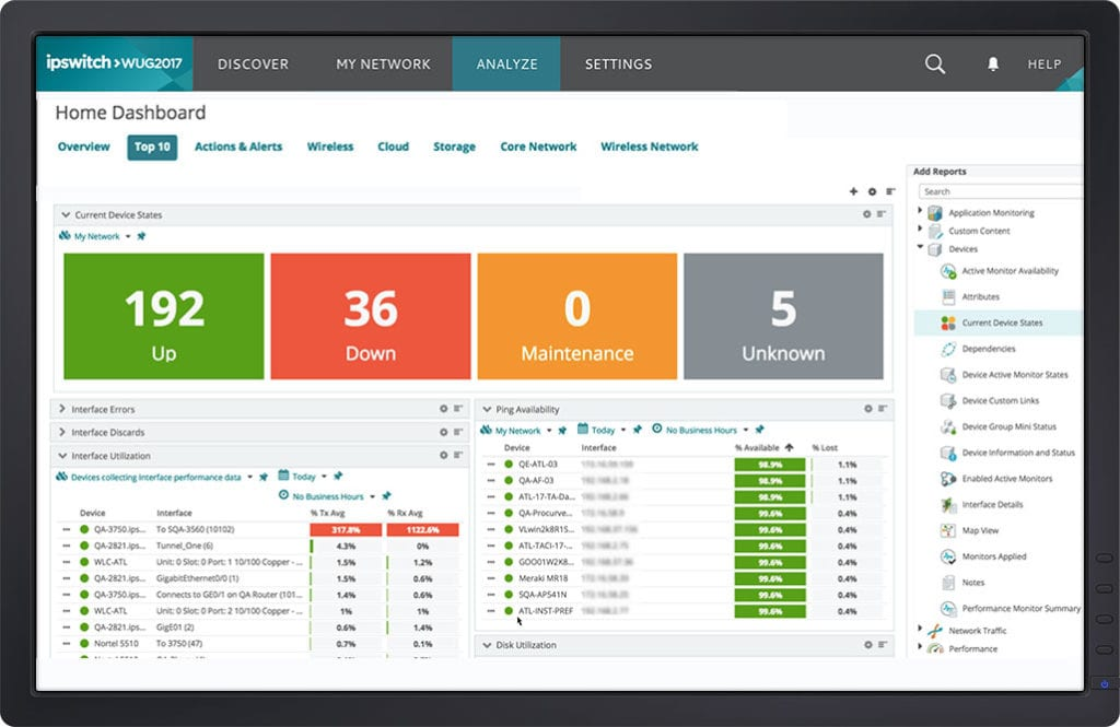 network home dashboard