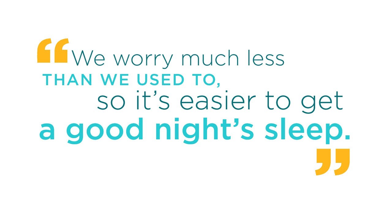 We worry much less than we used to, so it's easier to get a good night's sleep.